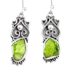 8.87cts natural green peridot rough 925 sterling silver dangle earrings r75170