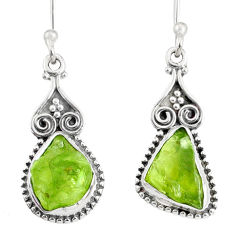 8.56cts natural green peridot rough 925 sterling silver dangle earrings r75173