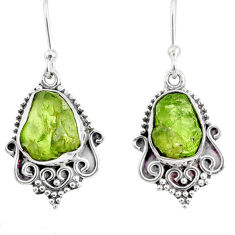 9.37cts natural green peridot rough 925 sterling silver dangle earrings r75174