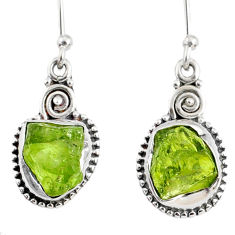 7.55cts natural green peridot rough 925 sterling silver dangle earrings r75177