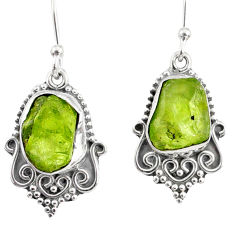 11.59cts natural green peridot rough 925 sterling silver dangle earrings r75180
