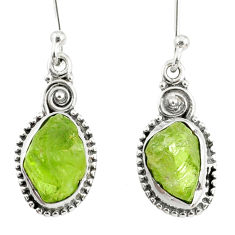 8.87cts natural green peridot rough 925 sterling silver dangle earrings r75186