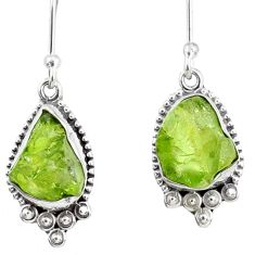 9.37cts natural green peridot rough 925 sterling silver dangle earrings r75189