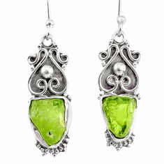 9.18cts natural green peridot rough 925 sterling silver dangle earrings r75191