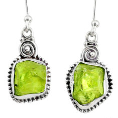 8.87cts natural green peridot rough 925 sterling silver dangle earrings r75192