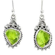 8.87cts natural green peridot rough 925 sterling silver dangle earrings r75193