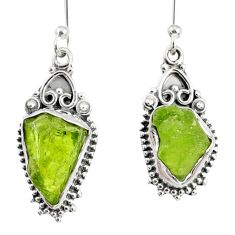 10.19cts natural green peridot rough 925 sterling silver dangle earrings r75195