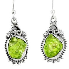 9.75cts natural green peridot rough 925 sterling silver dangle earrings r75196
