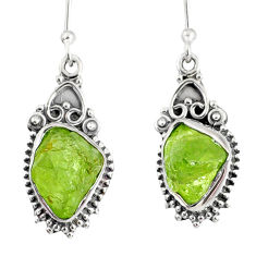 9.35cts natural green peridot rough 925 sterling silver dangle earrings r75200