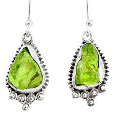 8.87cts natural green peridot rough 925 sterling silver dangle earrings r75201