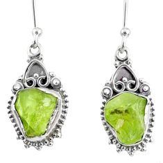 8.56cts natural green peridot rough 925 sterling silver dangle earrings r75206