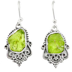 9.37cts natural green peridot rough 925 sterling silver dangle earrings r75208