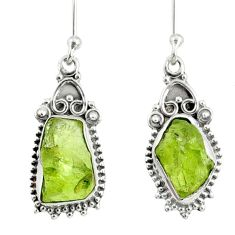 9.83cts natural green peridot rough 925 sterling silver dangle earrings r75210