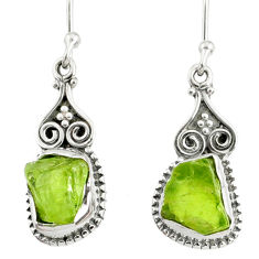 8.93cts natural green peridot rough 925 sterling silver dangle earrings r75211