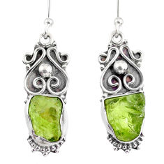 8.73cts natural green peridot rough 925 sterling silver dangle earrings r75213