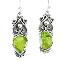 9.16cts natural green peridot rough 925 sterling silver dangle earrings r75216
