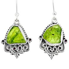 9.61cts natural green peridot rough 925 sterling silver dangle earrings r75218