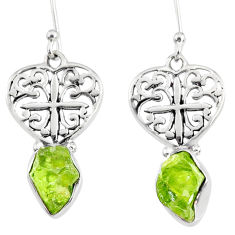 9.16cts natural green peridot rough 925 sterling silver heart earrings r75217
