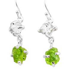 9.96cts natural green peridot rough herkimer diamond 925 silver earrings t25665