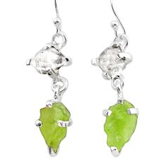 9.57cts natural green peridot rough herkimer diamond 925 silver earrings t25670