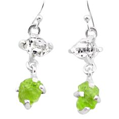 10.11cts natural green peridot rough herkimer diamond silver earrings t25661