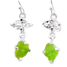 10.06cts natural green peridot rough herkimer diamond silver earrings t25662