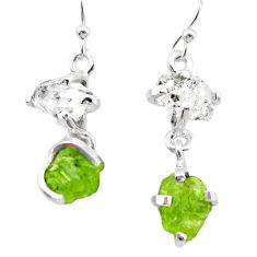 11.62cts natural green peridot rough herkimer diamond silver earrings t25667