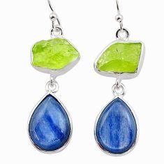 16.49cts natural green peridot raw kyanite 925 silver dangle earrings t38250