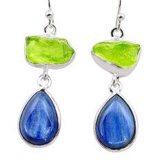 17.02cts natural green peridot raw kyanite 925 silver dangle earrings t38259