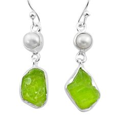 11.62cts natural green peridot raw pearl 925 silver dangle earrings t38202
