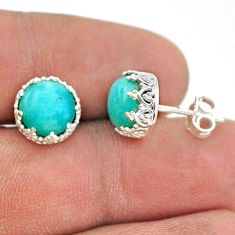 5.86cts natural green peruvian amazonite 925 silver crown stud earrings t43667