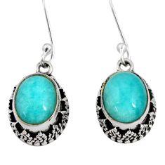 7.51cts natural green peruvian amazonite 925 silver dangle earrings d40401