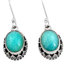 7.51cts natural green peruvian amazonite 925 silver dangle earrings d40402