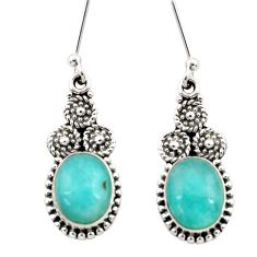 7.82cts natural green peruvian amazonite 925 silver dangle earrings d40631