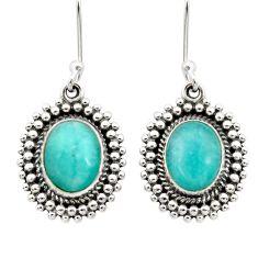 7.83cts natural green peruvian amazonite 925 silver dangle earrings d40632