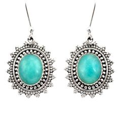 8.83cts natural green peruvian amazonite 925 silver dangle earrings d40633