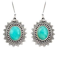 9.04cts natural green peruvian amazonite 925 silver dangle earrings d40635