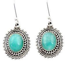 8.80cts natural green peruvian amazonite 925 silver dangle earrings d40636