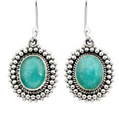 7.66cts natural green peruvian amazonite 925 silver dangle earrings d40637