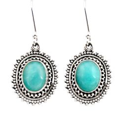 8.54cts natural green peruvian amazonite 925 silver dangle earrings d40640