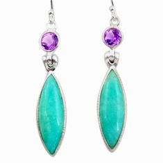 14.73cts natural green peruvian amazonite 925 silver dangle earrings d45821