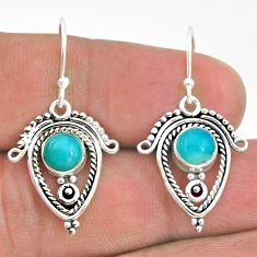 3.13cts natural green peruvian amazonite 925 silver dangle earrings t32785