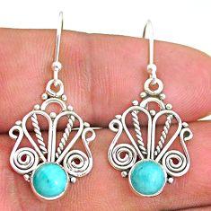2.90cts natural green peruvian amazonite 925 silver dangle earrings t32867
