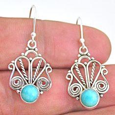 2.43cts natural green peruvian amazonite 925 silver dangle earrings t32889
