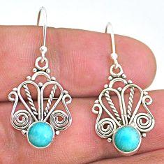 2.57cts natural green peruvian amazonite 925 silver dangle earrings t32890