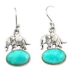 8.06cts natural green peruvian amazonite 925 silver elephant earrings r26589