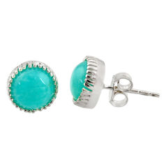 5.35cts natural green peruvian amazonite 925 silver stud earrings r37615