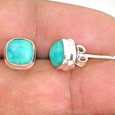 5.11cts natural green peruvian amazonite 925 silver stud earrings r84747