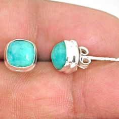 5.09cts natural green peruvian amazonite 925 silver stud earrings r84748
