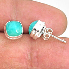 5.02cts natural green peruvian amazonite 925 silver stud earrings r84760